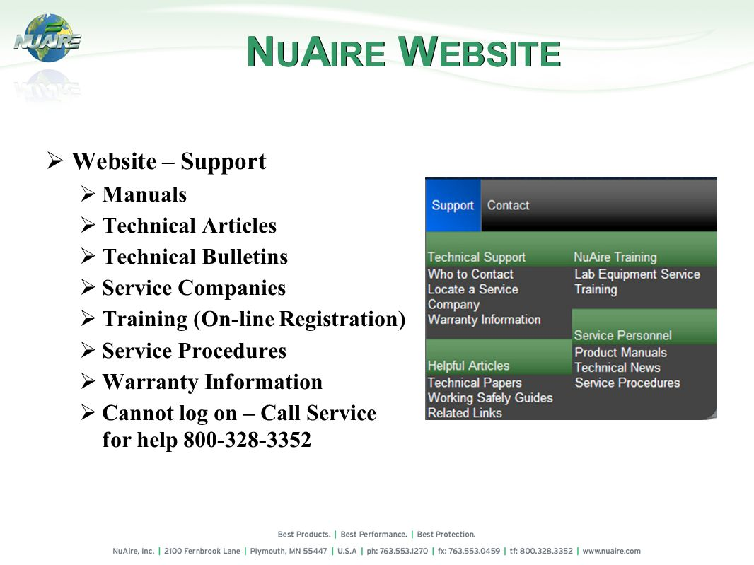 NUAIRE WEBSITE Website – Support Manuals Technical Articles