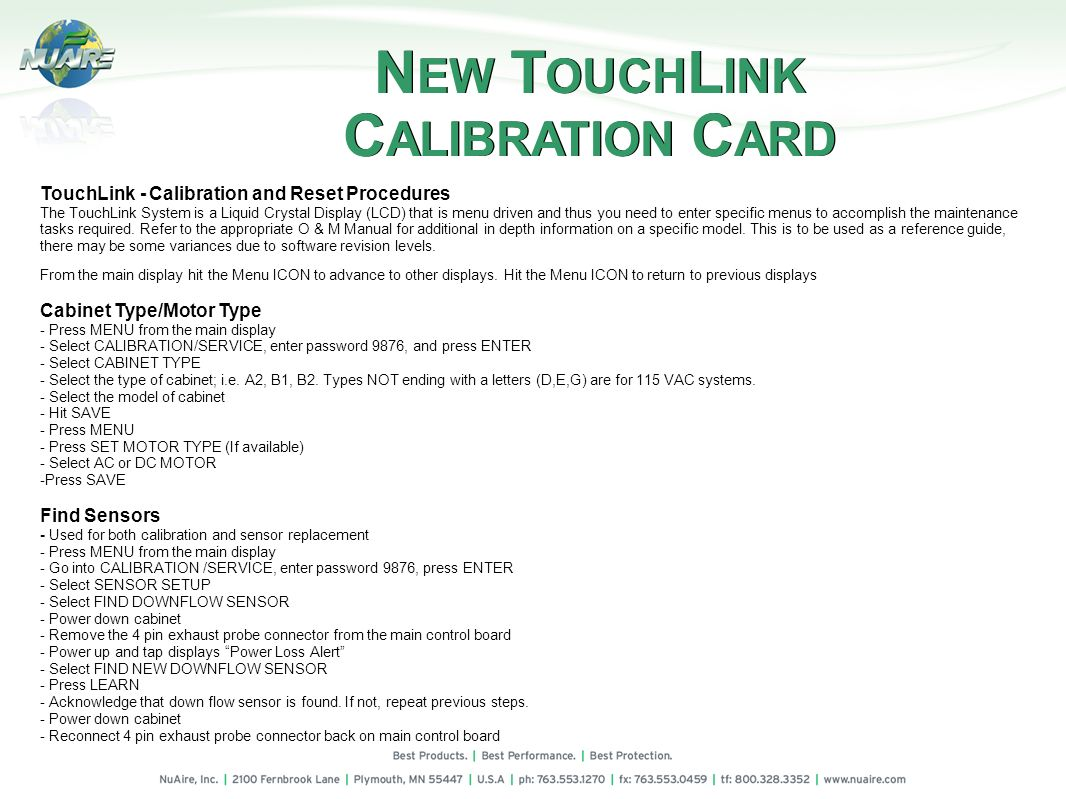 NEW TOUCHLINK CALIBRATION CARD
