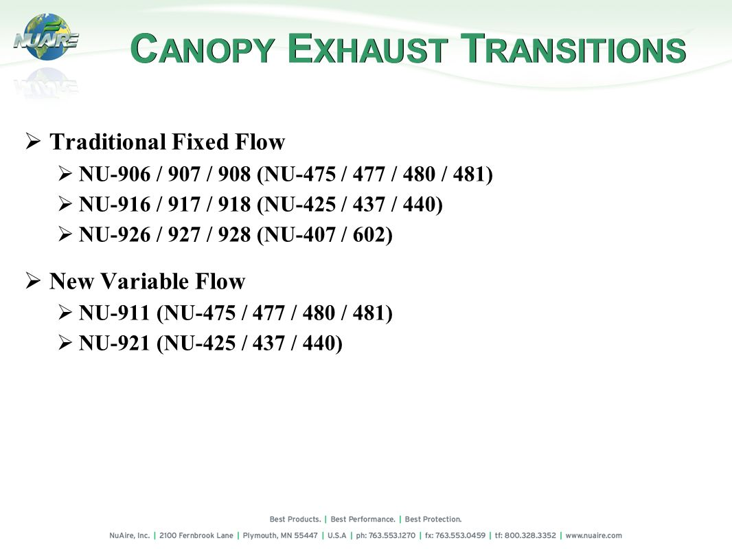 CANOPY EXHAUST TRANSITIONS