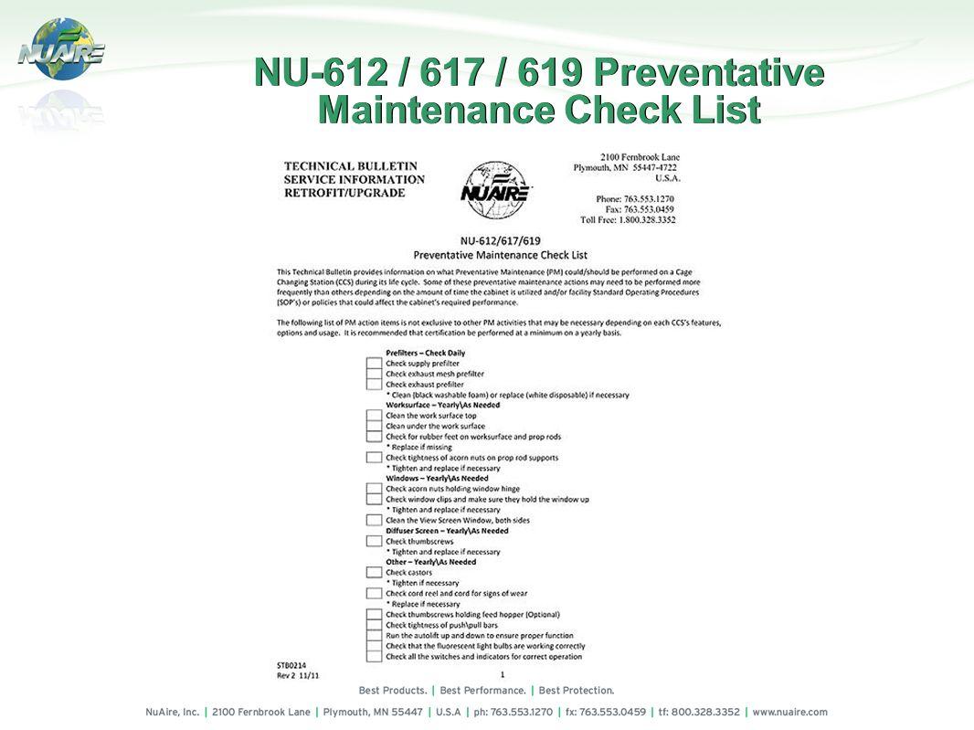 NU-612 / 617 / 619 Preventative Maintenance Check List