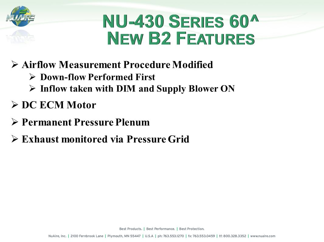 NU-430 SERIES 60^ NEW B2 FEATURES