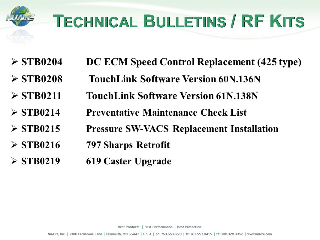 TECHNICAL BULLETINS / RF KITS