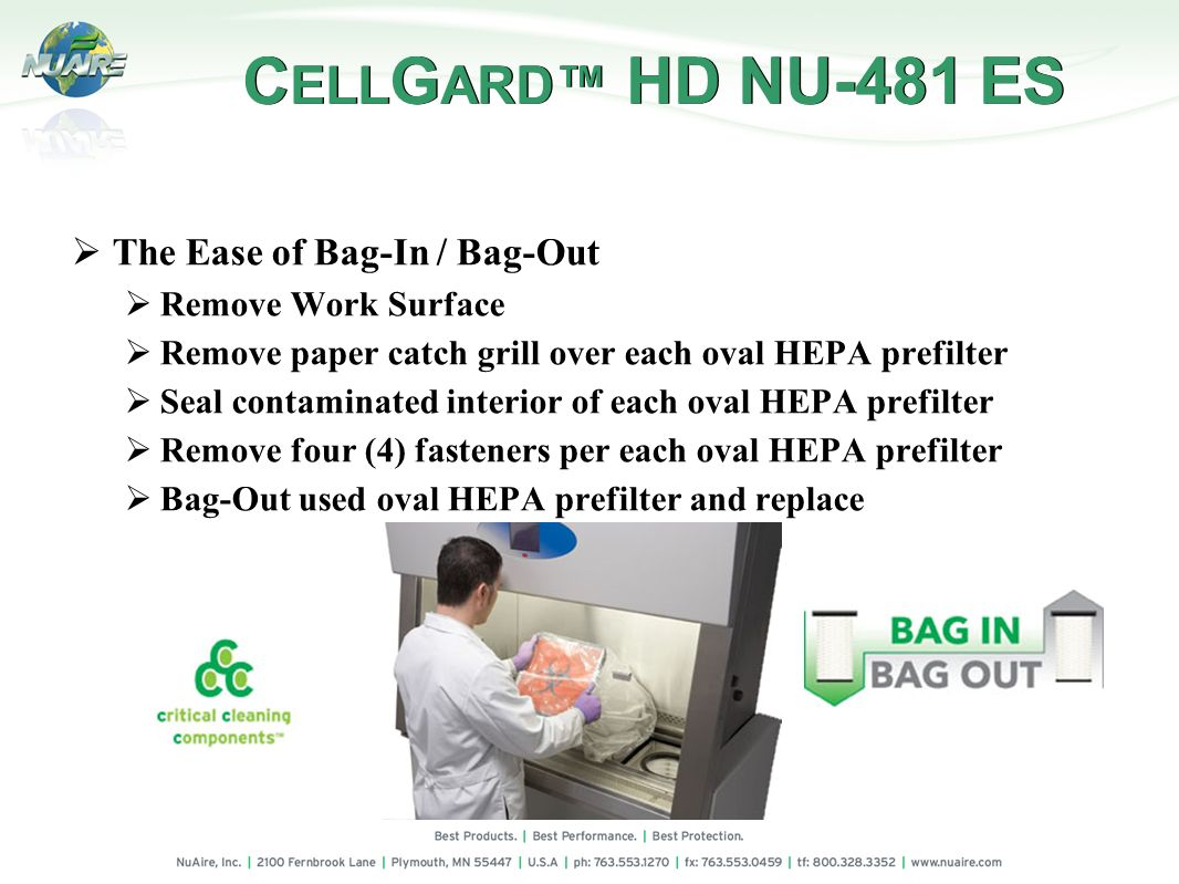 CELLGARD™ HD NU-481 ES The Ease of Bag-In / Bag-Out
