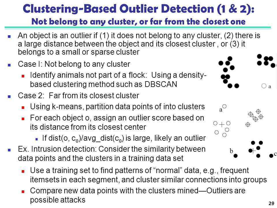 Clustering-Based Outlier Detection (1 & 2): Not belong to any cluster, or far from the closest one