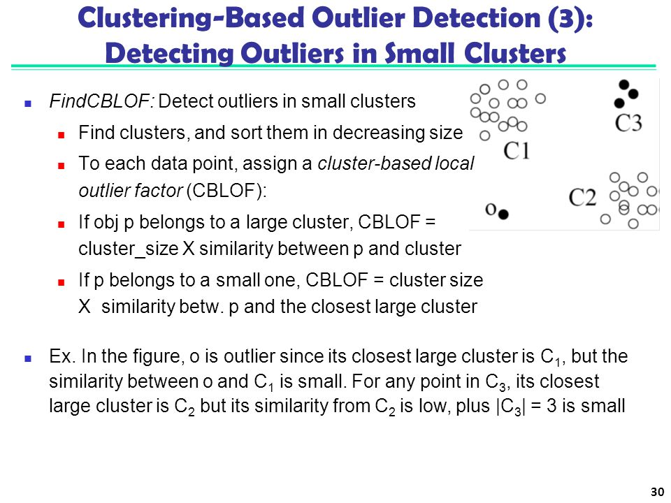 Clustering-Based Outlier Detection (3): Detecting Outliers in Small Clusters