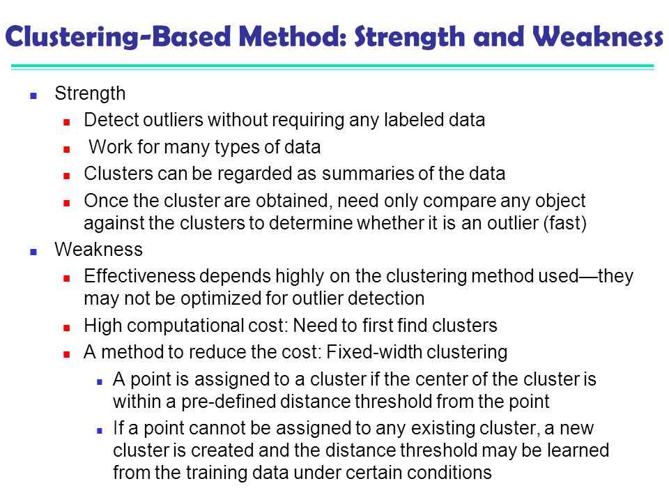 Clustering-Based Method: Strength and Weakness