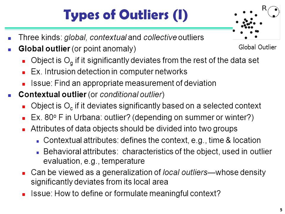 Types of Outliers (I) Three kinds: global, contextual and collective outliers. Global outlier (or point anomaly)