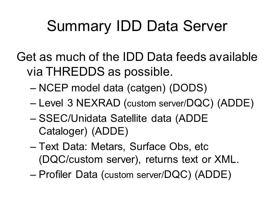 Summary IDD Data Server