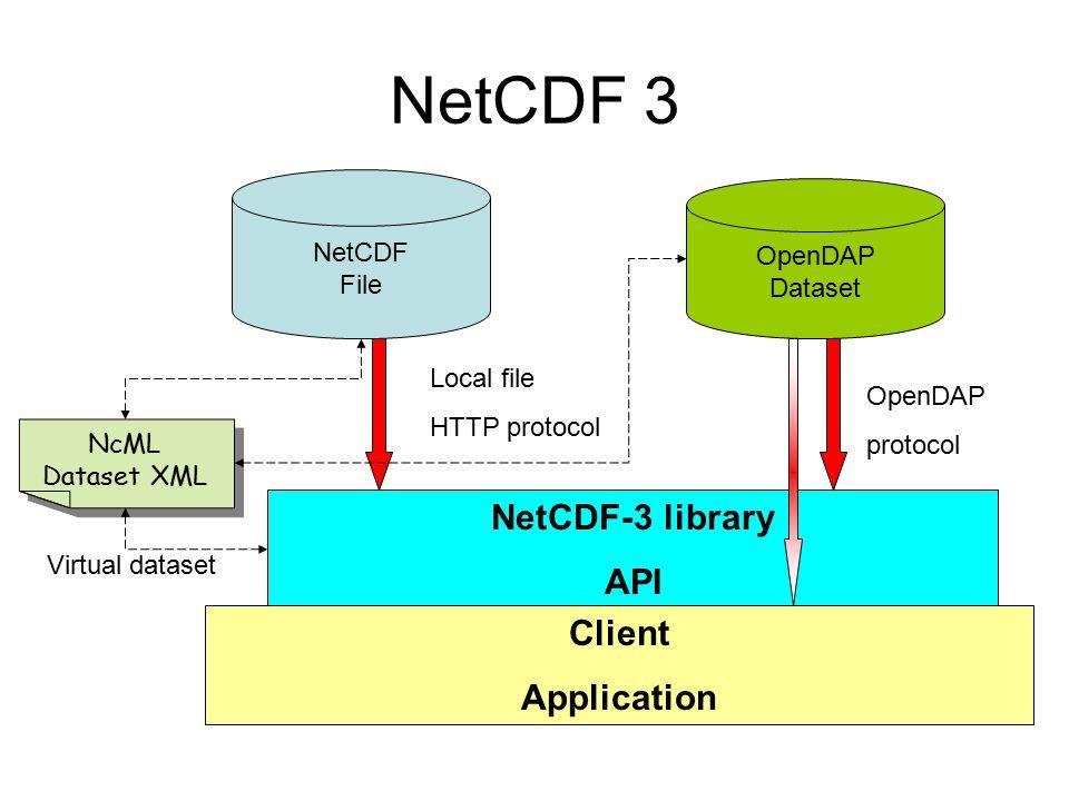 NetCDF 3 NetCDF-3 library API Client Application NetCDF OpenDAP File