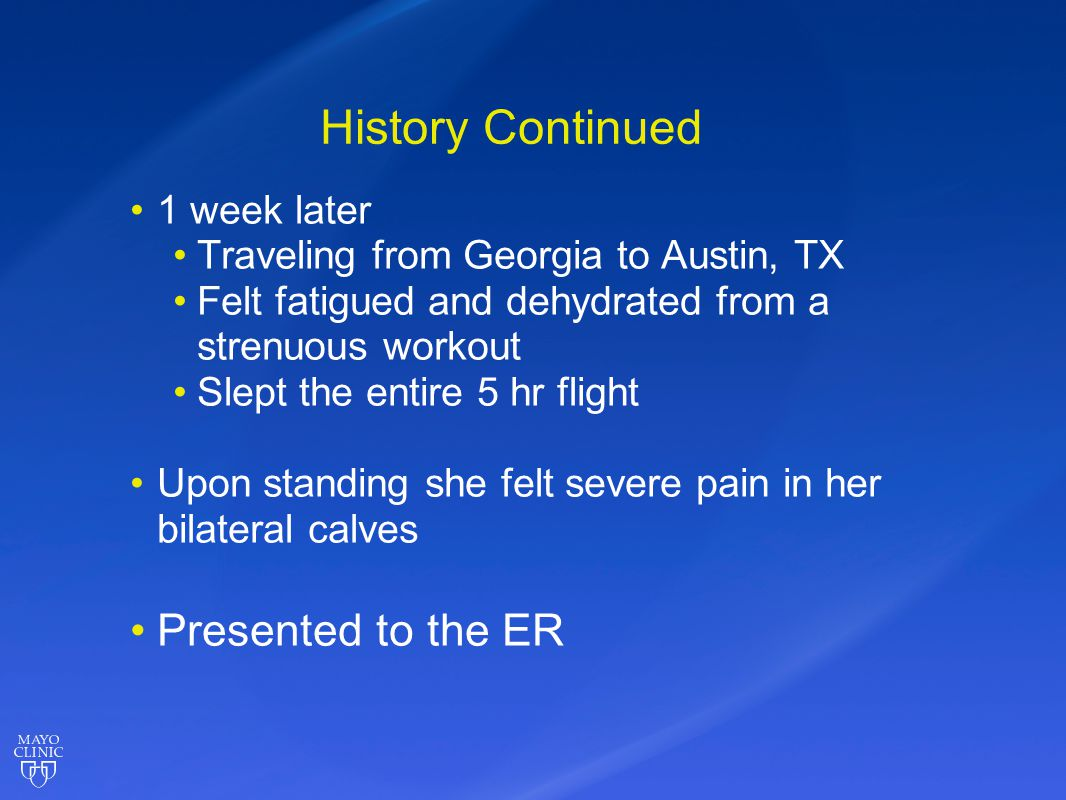 History Continued Presented to the ER 1 week later