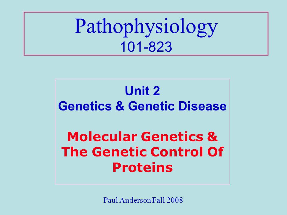 Pathophysiology 101-823 Unit 2 Genetics & Genetic Disease Molecular Genetics & The Genetic Control Of Proteins.