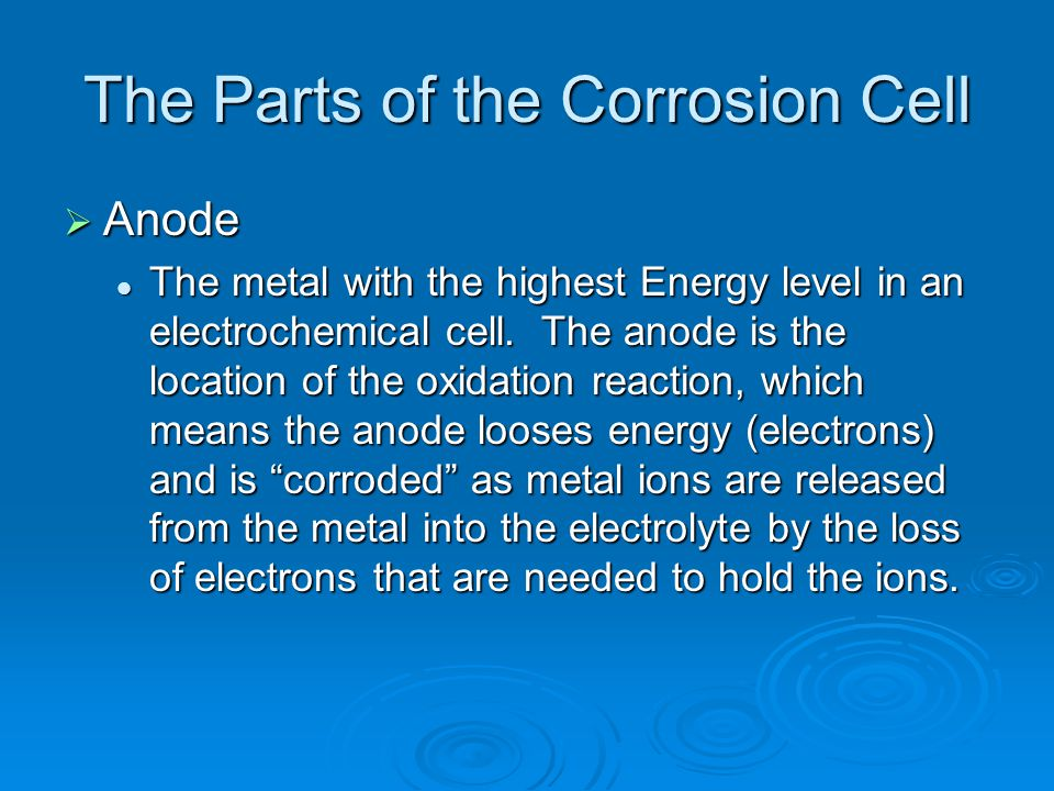 The Parts of the Corrosion Cell