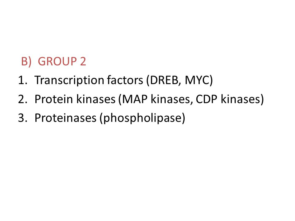 B) GROUP 2 Transcription factors (DREB, MYC) Protein kinases (MAP kinases, CDP kinases) Proteinases (phospholipase)