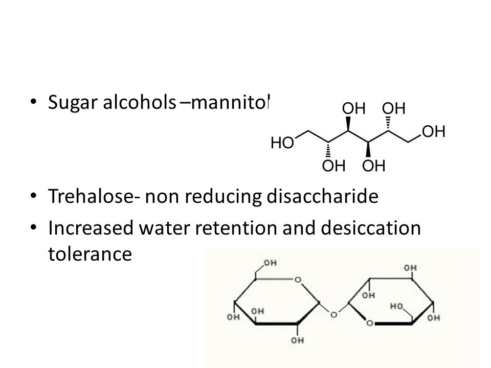 Sugar alcohols –mannitol