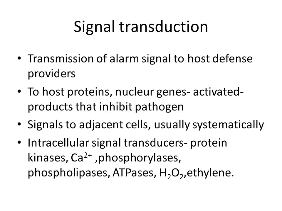 Signal transduction Transmission of alarm signal to host defense providers.