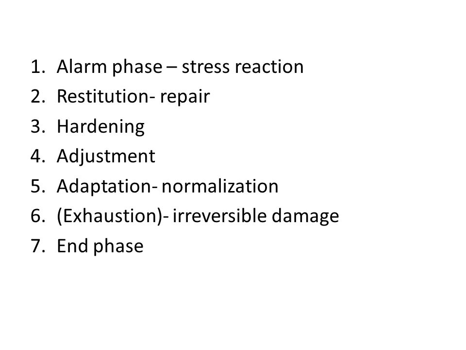 Alarm phase – stress reaction