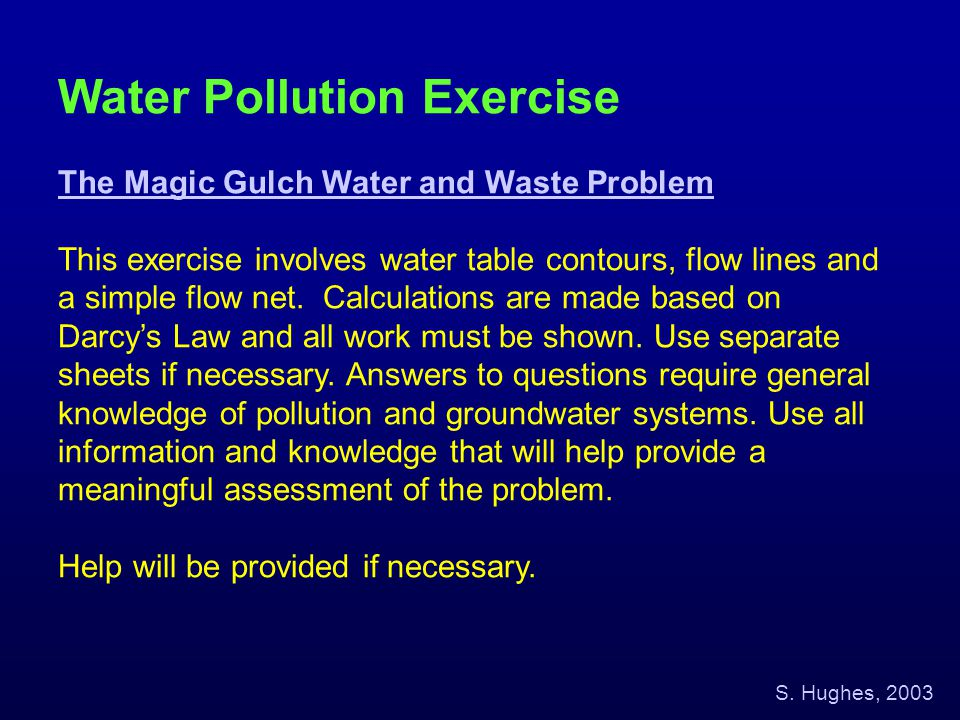 Water Pollution Exercise