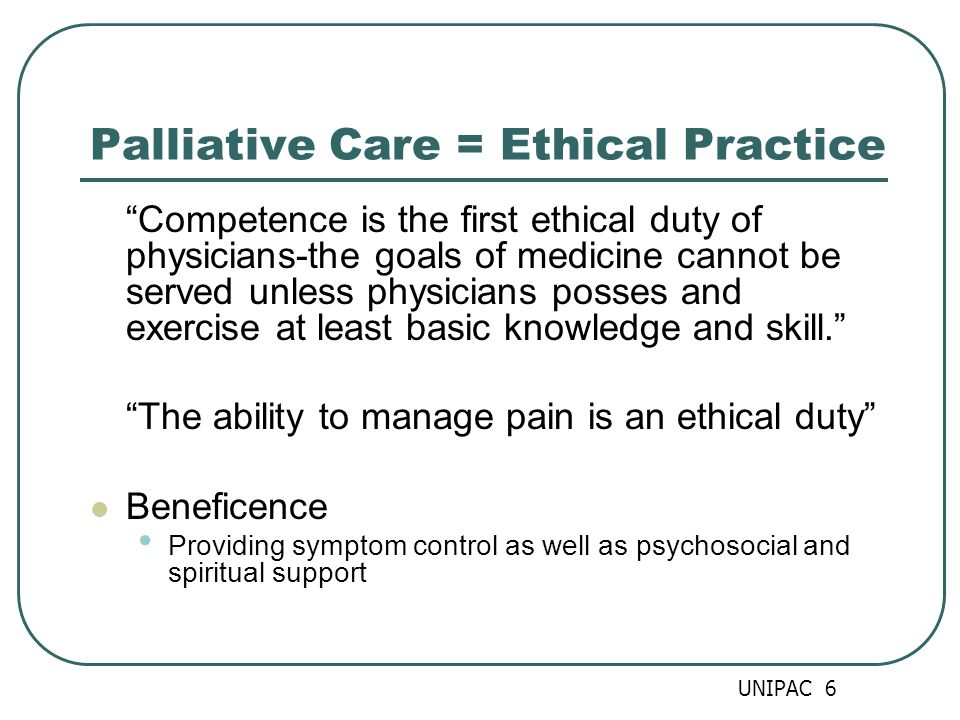 Palliative Care = Ethical Practice