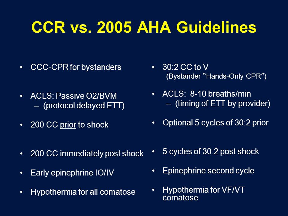 CCR vs. 2005 AHA Guidelines CCC-CPR for bystanders