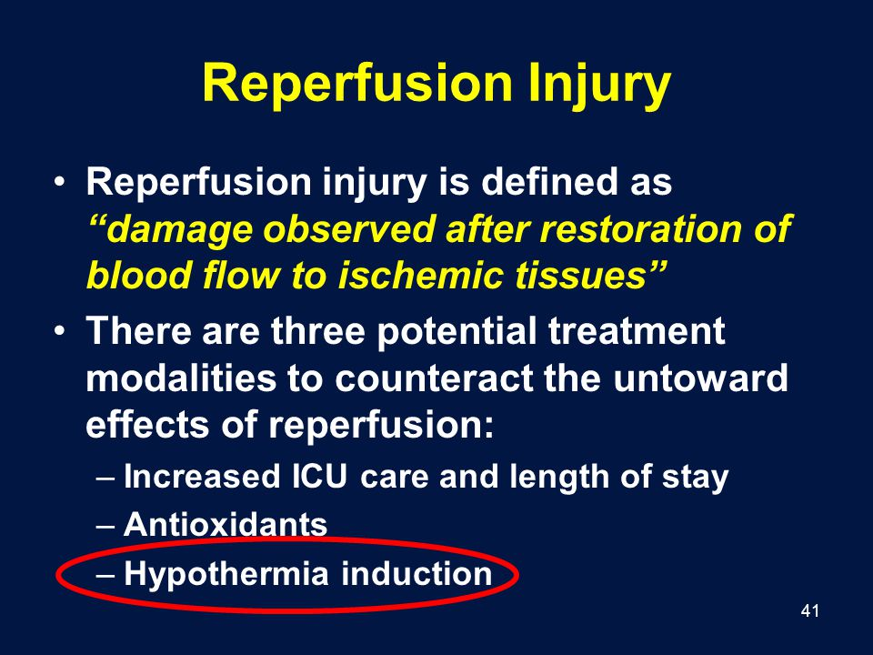 Reperfusion Injury Reperfusion injury is defined as damage observed after restoration of blood flow to ischemic tissues