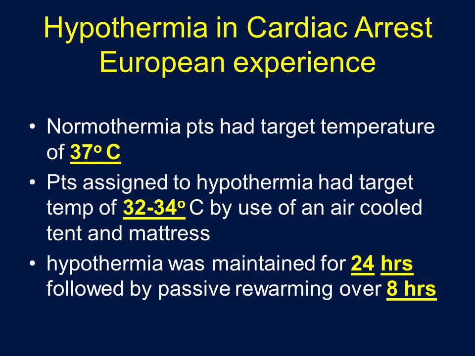 Hypothermia in Cardiac Arrest European experience