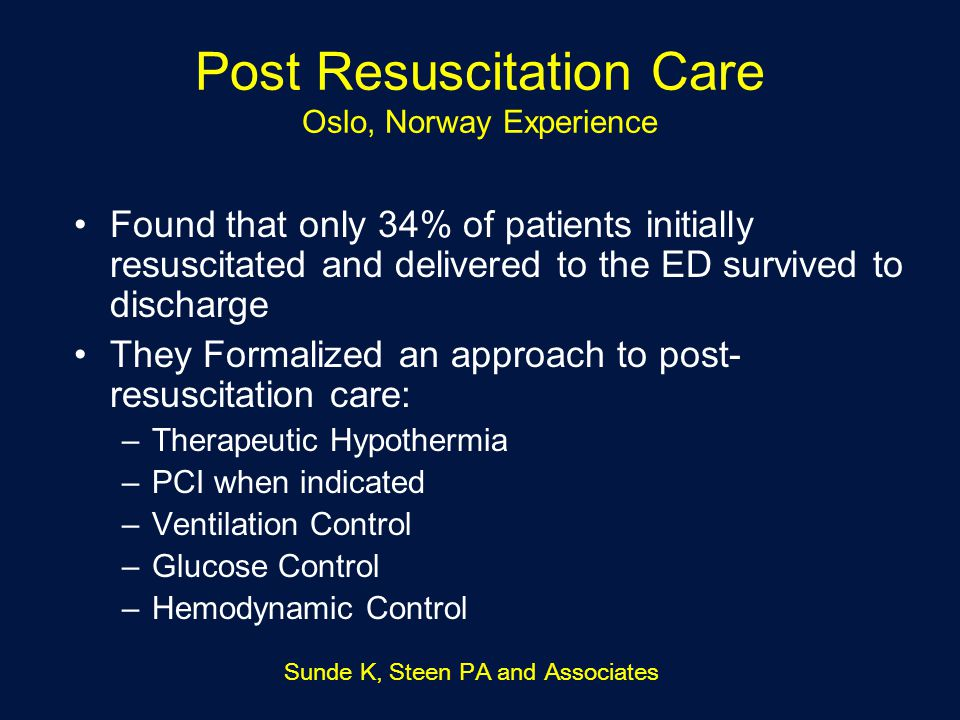 Post Resuscitation Care Oslo, Norway Experience