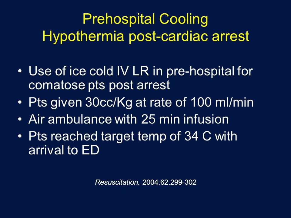 Prehospital Cooling Hypothermia post-cardiac arrest