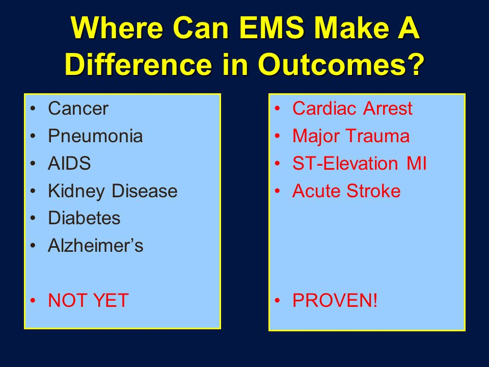 Where Can EMS Make A Difference in Outcomes