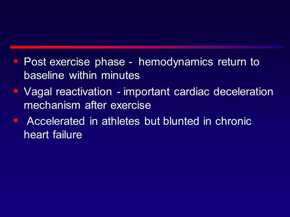 Post exercise phase - hemodynamics return to baseline within minutes