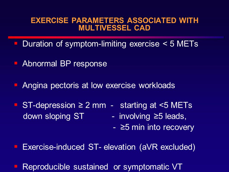 EXERCISE PARAMETERS ASSOCIATED WITH MULTIVESSEL CAD