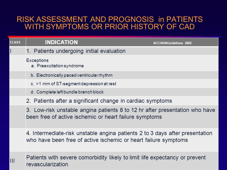 RISK ASSESSMENT AND PROGNOSIS in PATIENTS WITH SYMPTOMS OR PRIOR HISTORY OF CAD