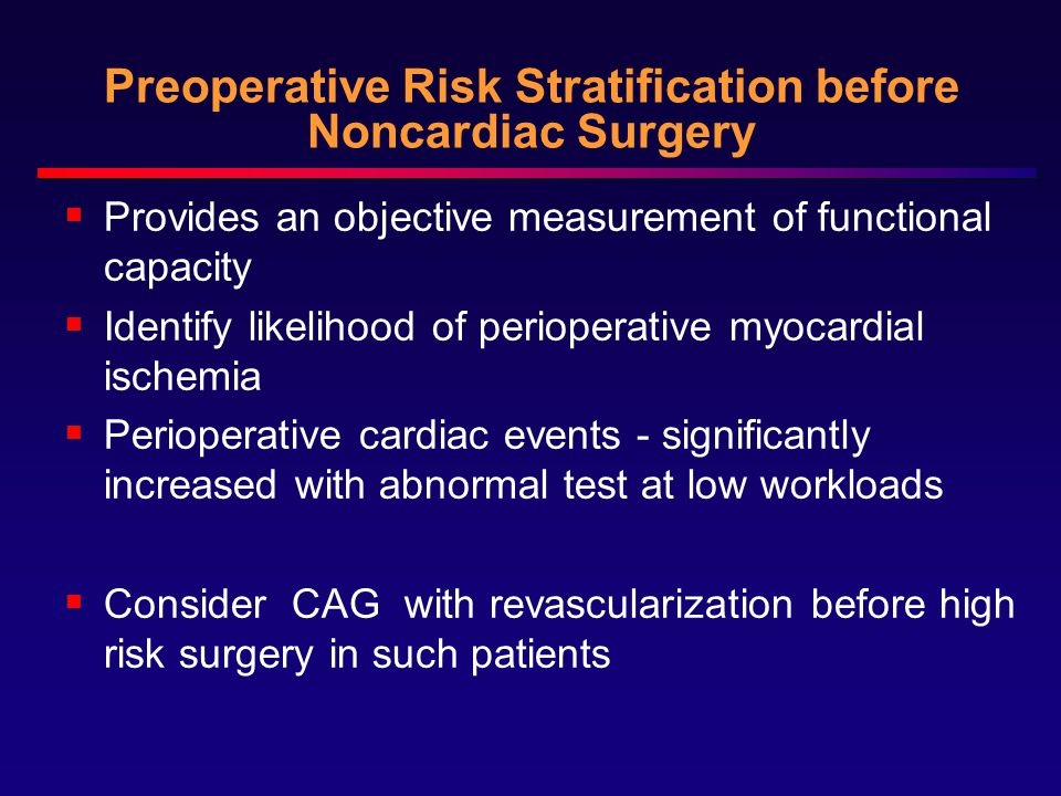 Preoperative Risk Stratification before Noncardiac Surgery