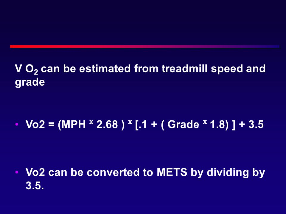 V O2 can be estimated from treadmill speed and grade