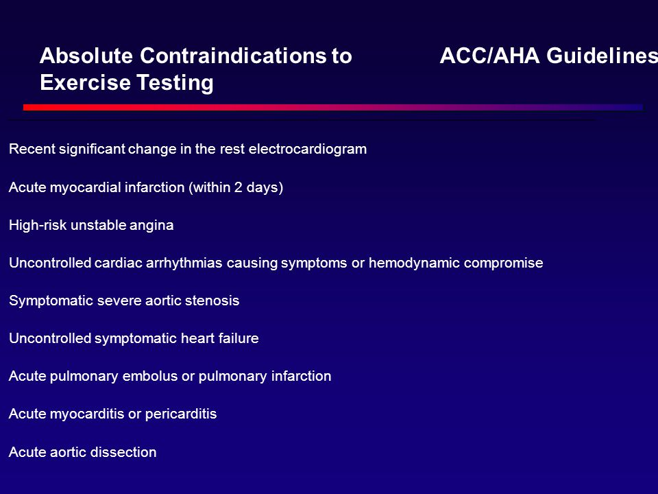 Absolute Contraindications to Exercise Testing ACC/AHA Guidelines: