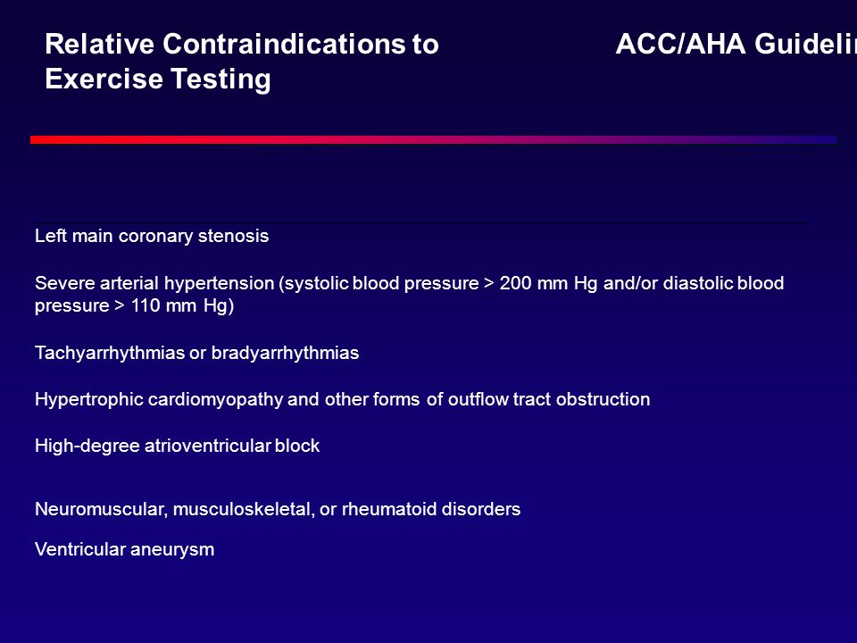 Relative Contraindications to Exercise Testing ACC/AHA Guidelines: