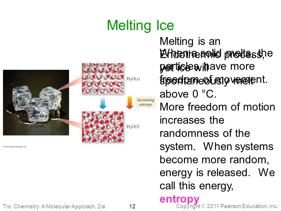 Melting Ice Melting is an Endothermic process, yet ice will spontaneously melt above 0 °C.
