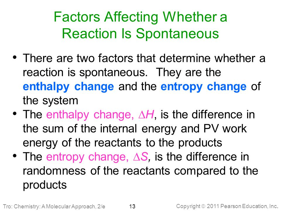 Factors Affecting Whether a Reaction Is Spontaneous