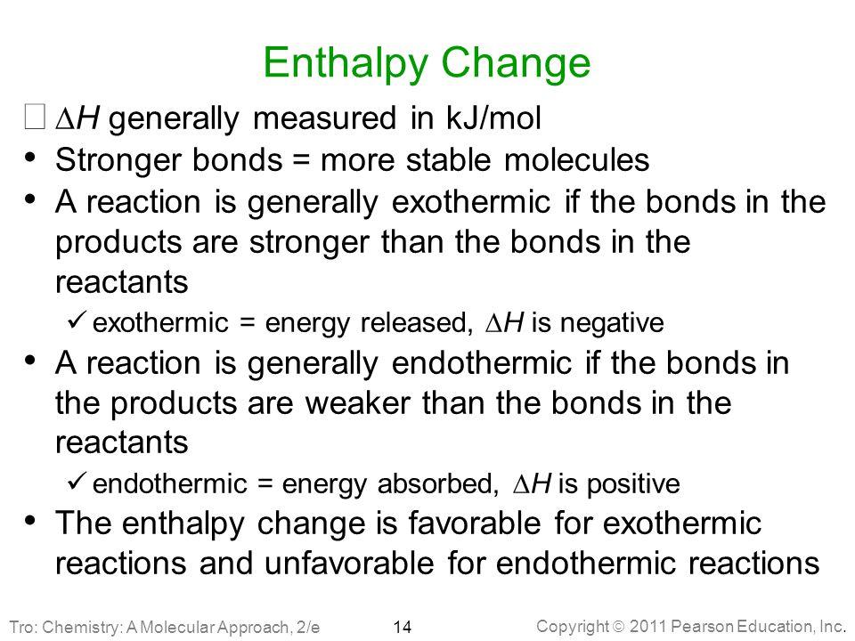 Enthalpy Change DH generally measured in kJ/mol