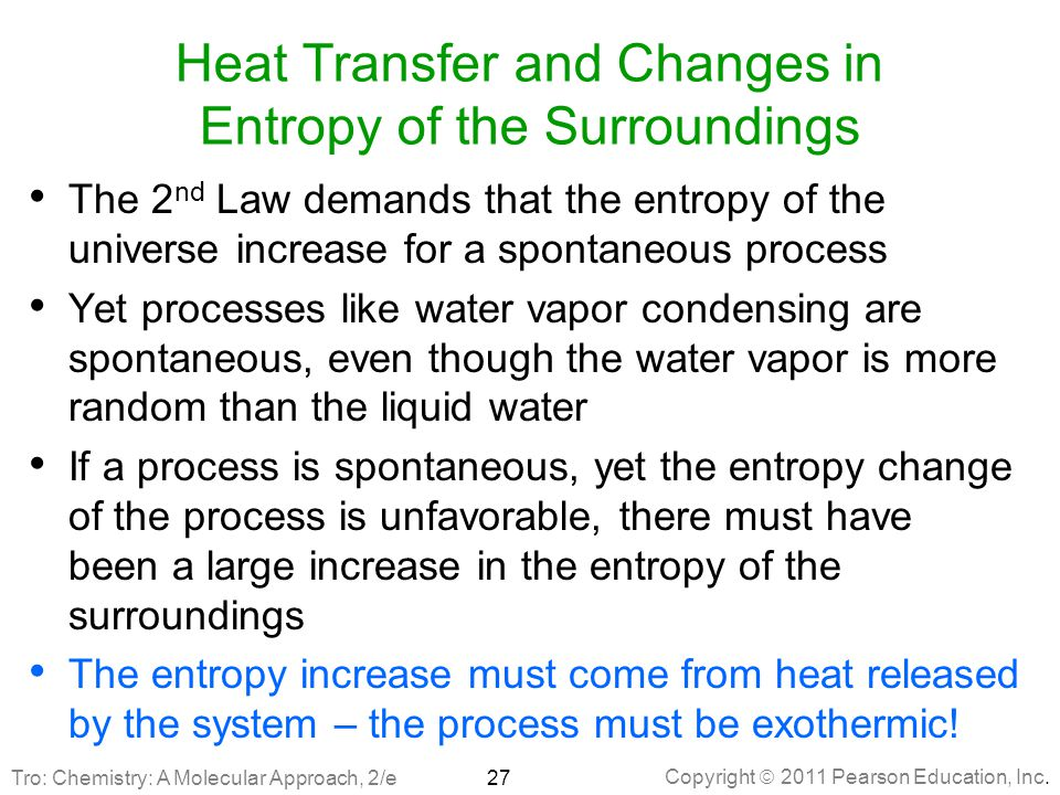 Heat Transfer and Changes in Entropy of the Surroundings