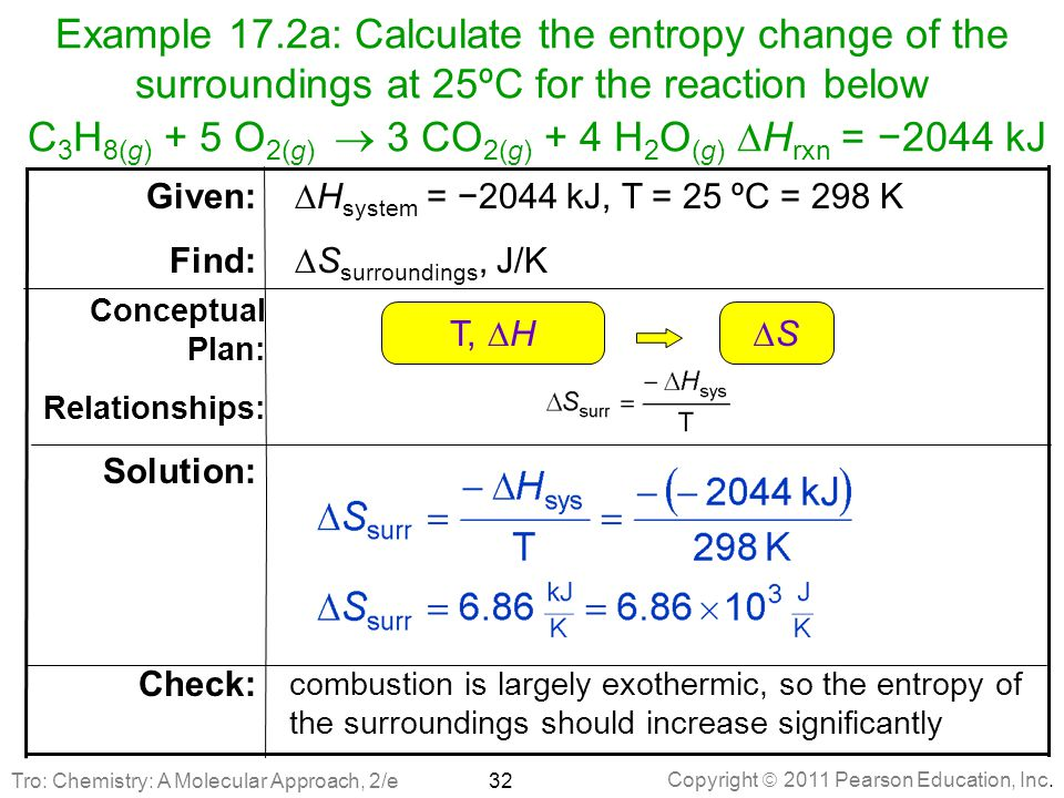 Example 17.2a: Calculate the entropy change of the surroundings at 25ºC for the reaction below C3H8(g) + 5 O2(g)  3 CO2(g) + 4 H2O(g) DHrxn = −2044 kJ