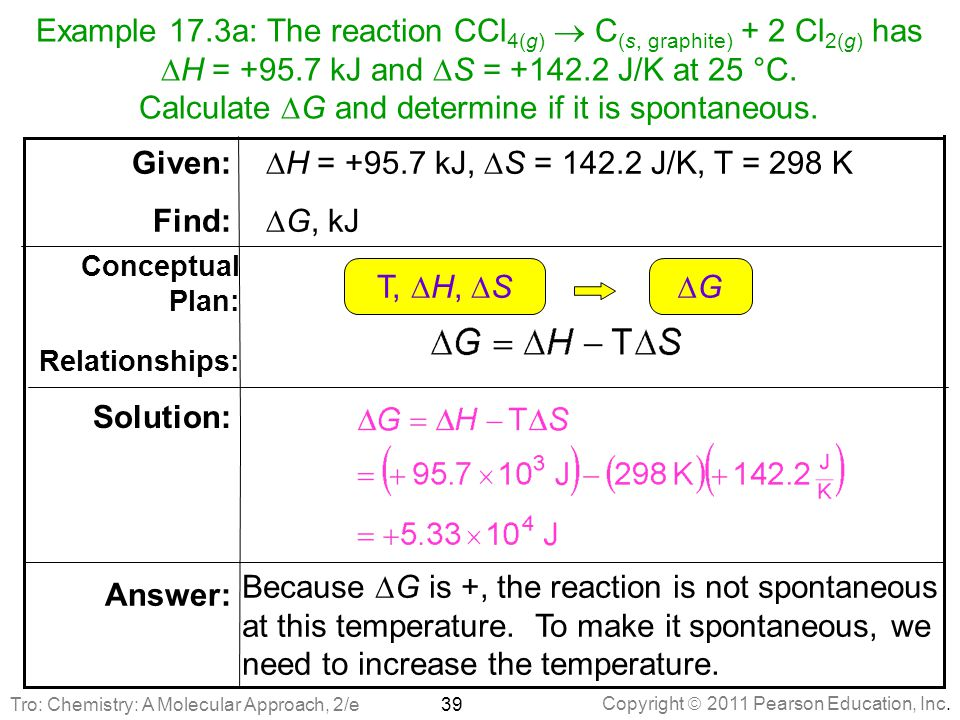 Example 17.3a: The reaction CCl4(g)  C(s, graphite) + 2 Cl2(g) has DH = +95.7 kJ and DS = +142.2 J/K at 25 °C. Calculate DG and determine if it is spontaneous.