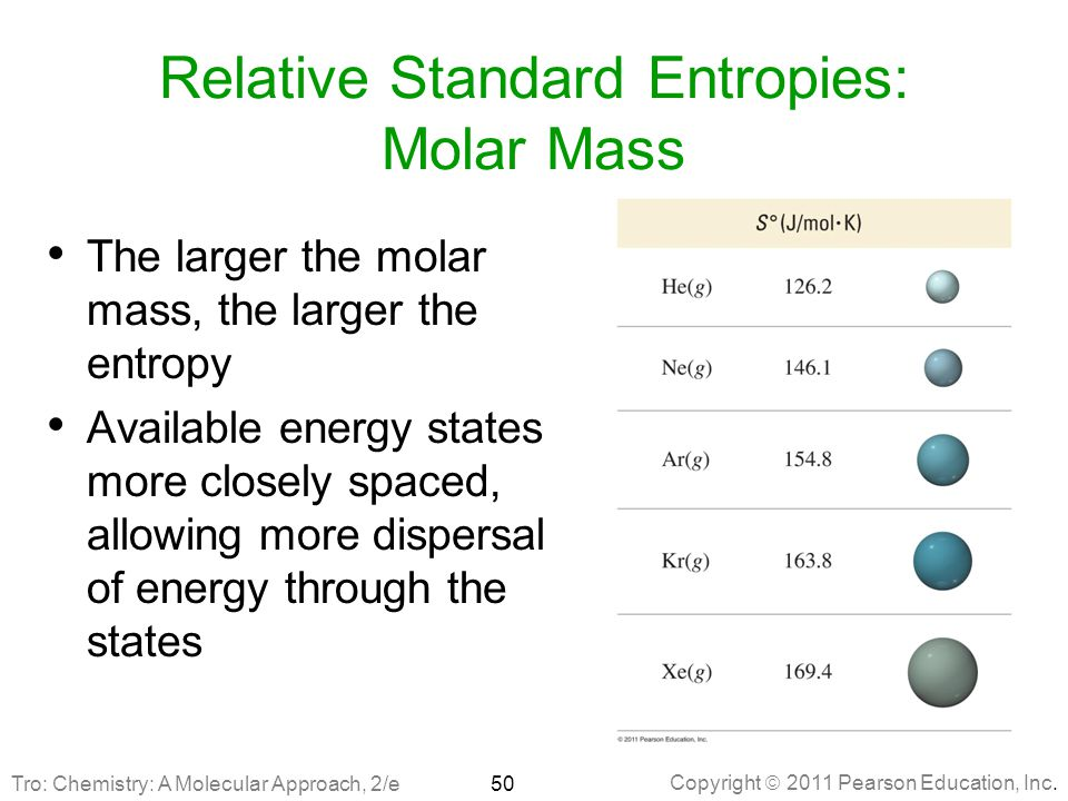 Relative Standard Entropies: Molar Mass