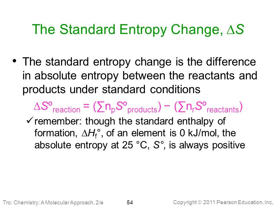 The Standard Entropy Change, DS