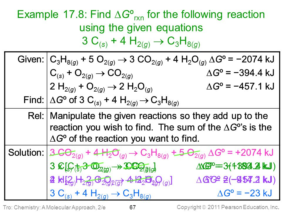 Example 17.8: Find DGºrxn for the following reaction using the given equations 3 C(s) + 4 H2(g)  C3H8(g)