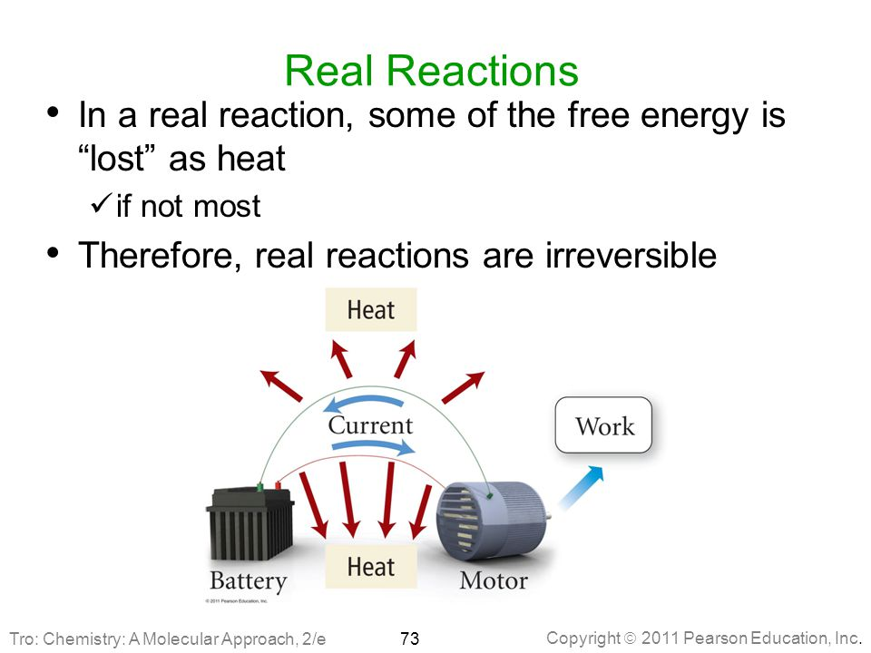 Real Reactions In a real reaction, some of the free energy is lost as heat. if not most. Therefore, real reactions are irreversible.