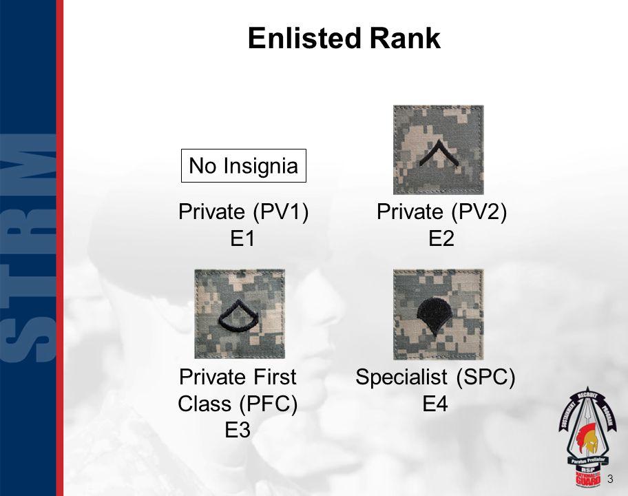 Enlisted Rank No Insignia Private (PV1) E1 Private (PV2) E2