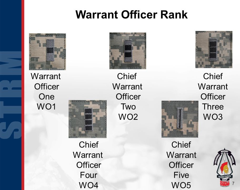 Warrant Officer Rank Warrant Officer One WO1 Chief Warrant Officer Two