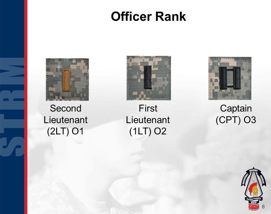 Officer Rank Second Lieutenant (2LT) O1 First Lieutenant (1LT) O2