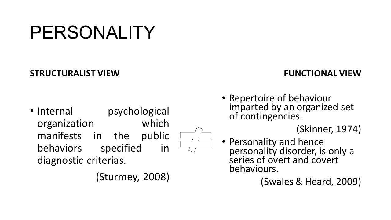 PERSONALITY STRUCTURALIST VIEW. FUNCTIONAL VIEW.