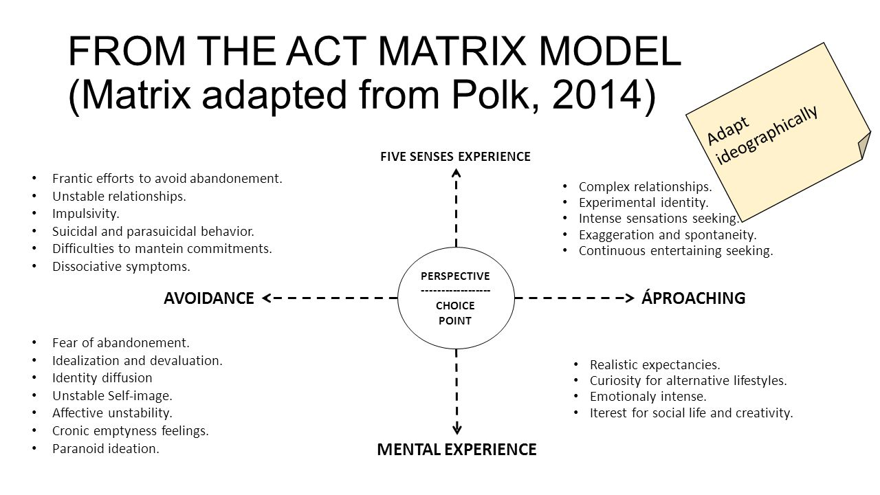 FROM THE ACT MATRIX MODEL (Matrix adapted from Polk, 2014)